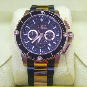 FIRM PRICE-INVICTA BLACK AND ROSE GOLD CHRONOGRAPH